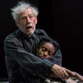 King Lear (Ian McKellan) clutching Cordelia (Anita-Joy Uwajeh)